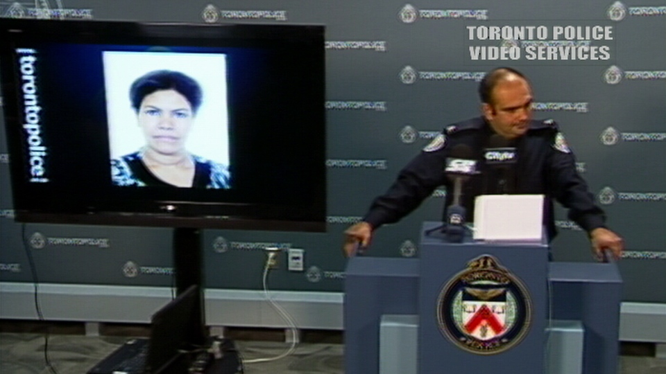 Toronto police show a photo of the woman who was murdered in a fatal stabbing in Toronto's Cabbagetown neighbourhood, Wednesday, Oct. 24, 2012.