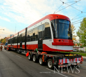 Photos obtained by CTV News Toronto show the TTC moving a new streetcar to the Hillcrest Yard, providing a sense of how big and different the new vehicles are.