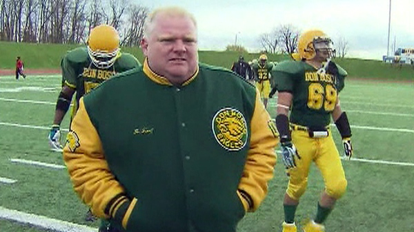 Coun. Rob Ford in his role as football coach with the Don Bosco Eagles football team on Thursday, Oct. 28, 2010.