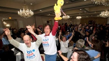 U.S. Democratic supporters celebrate Obama's win