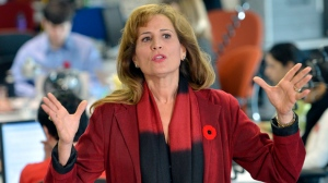 Former Ontario cabinet minister Sandra Pupatello gestures during a news conference in Toronto on Thursday, Nov. 8, 2012, after she officially launched her bid for the Ontario Liberal leadership. (The Canadian Press/Nathan Denette)