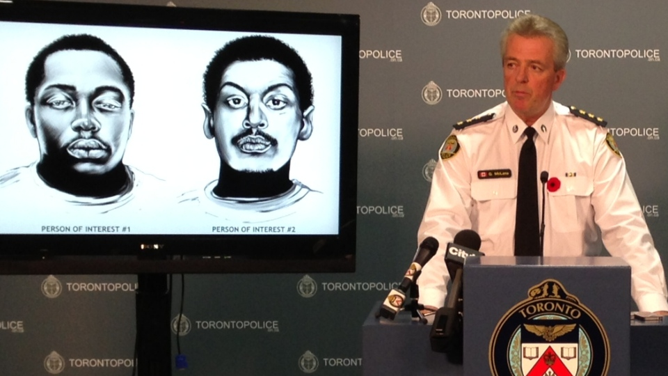 Toronto police say they are seeking two persons of interest in connection with the mass street shooting at a summer BBQ party on Danzig Street this past summer. (Danny Pinto / CTV Toronto)
