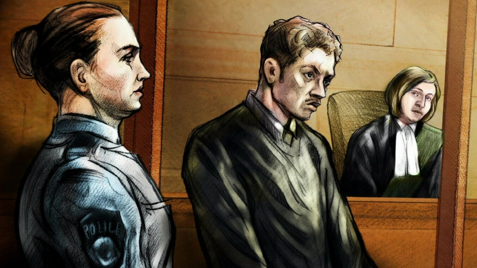 Nicholas Moorhouse is pictured in this court drawing. Moorhouse appeared in court in Toronto on Nov. 10, 2012. Moorhouse is accused of stealing poppy donation boxes.