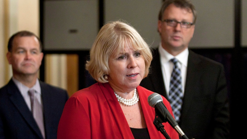 Ontario Health Minister Deb Matthews fields questions at a meeting of federal and provincial health ministers in Halifax on Thursday, Sept. 27, 2012. (Andrew Vaughan / THE CANADIAN PRESS)