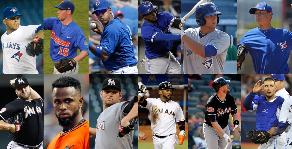 Top: (From left to right) Toronto Blue Jays players Henderson Alvarez, Anthony DeSclafani, Yunel Escobar, Adeiny Hechavarria, Justin Nicolino and Jake Marisnick. Bottom: (From left to right) Miami Marlins players Mark Buehrle, Jose Reyes, Josh Johnson, Emilio Bonifacio, John Buck and Blue Jays player Jeff Mathis.