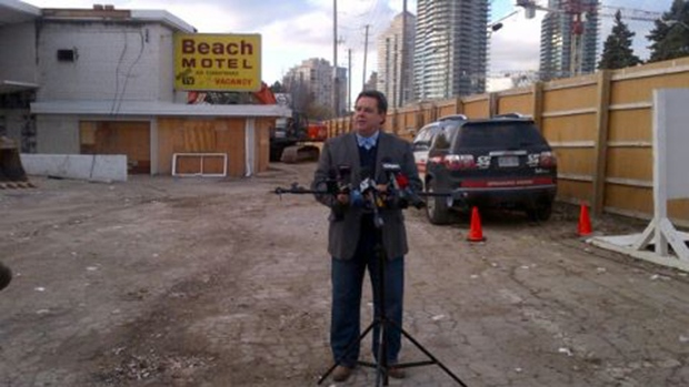 Etobicoke-Lakeshore Councillor Mark Grimes speaks at a news conference regarding the Beach Motel on Nov. 15, 2012. (Councillor Grimes via Twitter)
