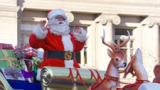 Santa arrives at the Santa Claus Parade