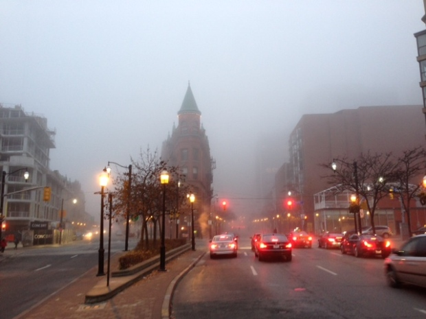 Fog in downtown Toronto, Nov. 21, 2012.