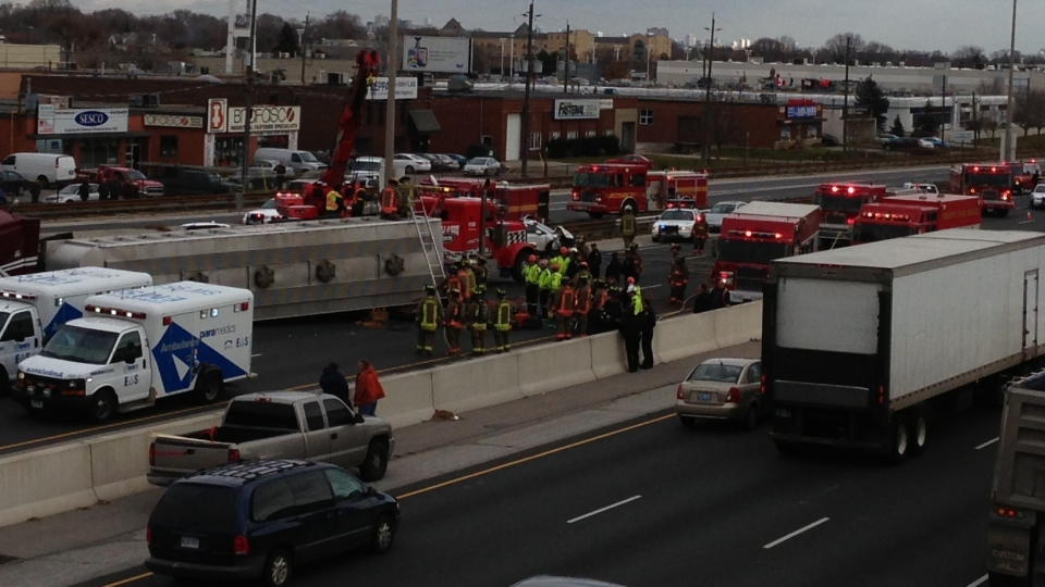 Emergency vehicles attend the scene of an accident on the Gardiner Expressway Monday, November 26, 2012. (Byron Auburn/ CTV Toronto)