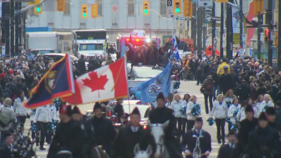 The Argo Grey Cup victory parade moves through downtown Toronto on Tuesday, Nov. 27, 2012.