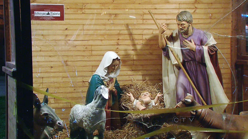 Vandals have destroyed part of a nativity scene set up in front of Toronto's Old City Hall Courts, Friday, Nov. 30, 2012.
