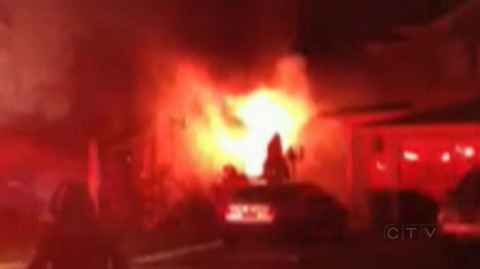 Neighbours captured dramatic video of a massive house fire in Brampton Monday, Dec. 3, 2012.