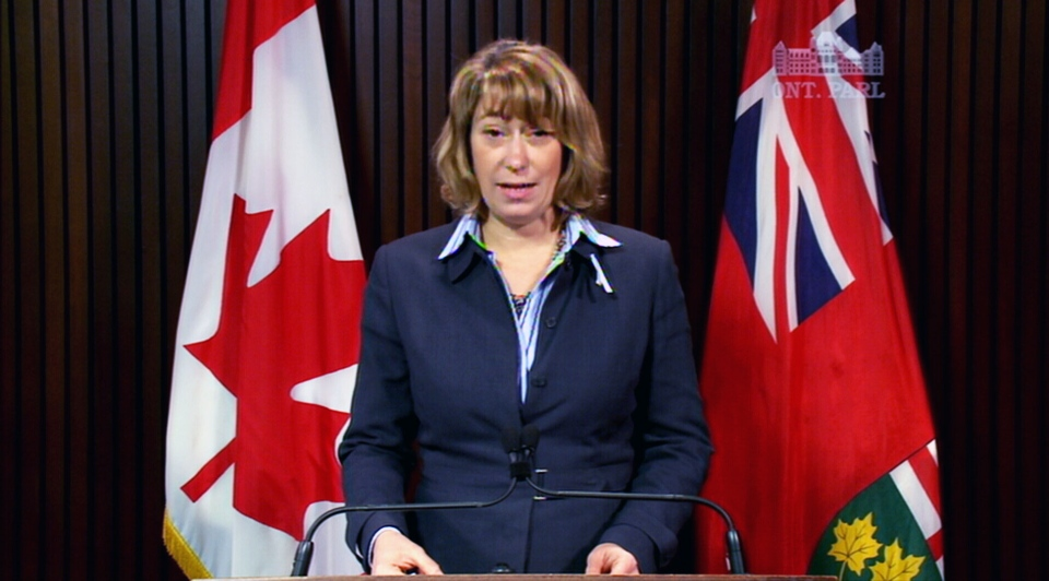 Ontario Education Minister Laurel Broten addresses the elementary school teachers' strike threat Thursday, Dec. 6, 2012.