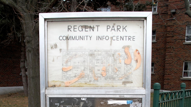A sign mapping out Regent Park, Canada's first and largest socially-assisted housing project.