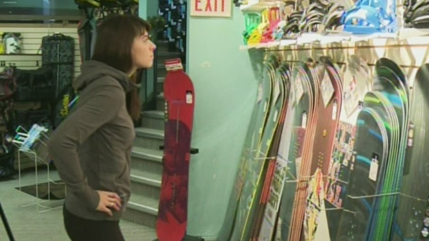 Shoppers at this snowboard store say they're hoping for a white Christmas. (CTV Kitchener)