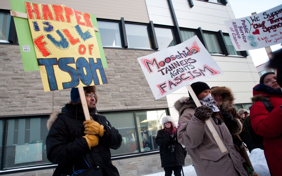 About 100 people march in a demonstration during -29 C degree weather in downtown Yellowknife on Friday December 21, 2012. (Bill Braden / THE CANADIAN PRESS)