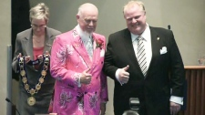 Don Cherry and Rob Ford smile at the ceremony at city hall in Toronto, Tuesday, Dec. 7, 2010