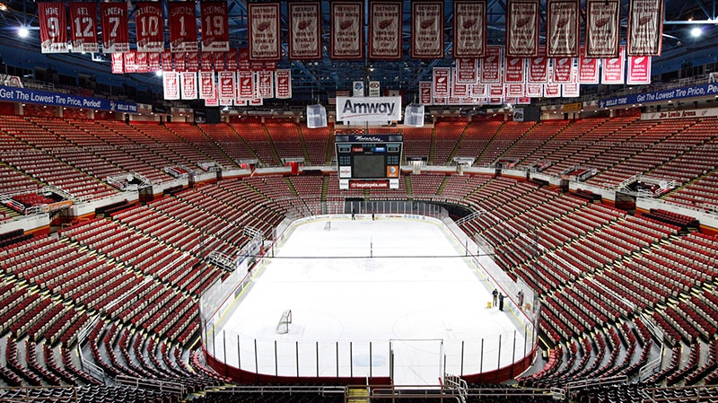 In this photo taken Tuesday, Dec. 18, 2012, championship banners and retired numbers of the Detroit Red Wings hockey team hang from the rafters above the ice at Joe Louis Arena in Detroit. (AP / Paul Sancya, File)
