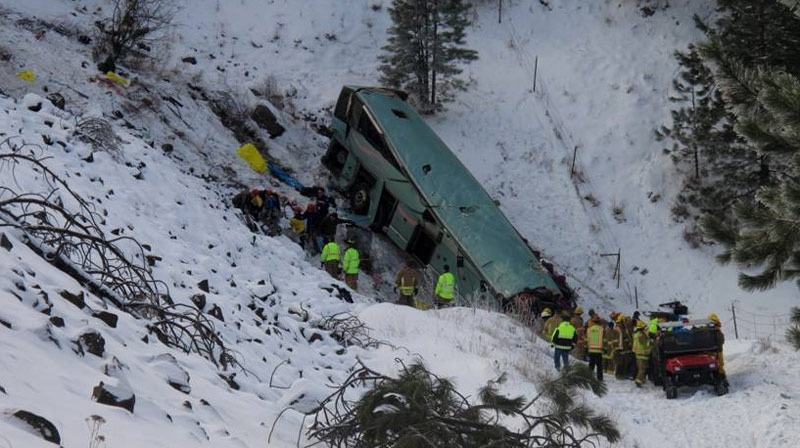 Nine people were killed after a bus en route to Vancouver from Las Vegas crashed in Oregon on Sunday morning, Dec. 30, 2012. (www.eastoregonian.com / Tim Trainor)