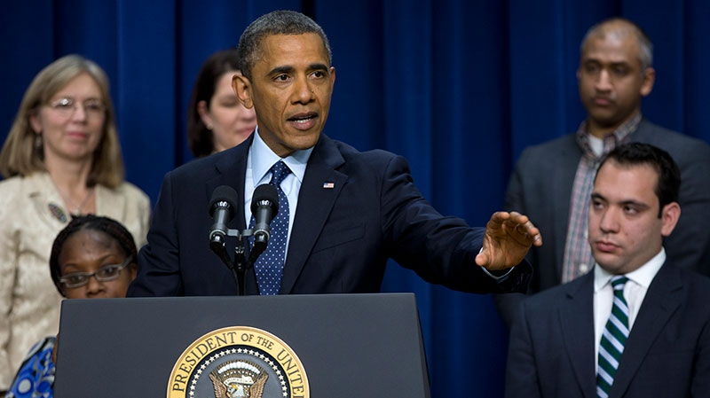 U.S. President Barack Obama gestures as he speaks about the fiscal cliff in the South Court Auditorium at the White House in Washington, Monday, Dec. 31, 2012. (AP / Carolyn Kaster)