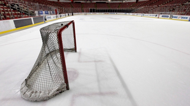 In this photo taken Tuesday, Dec. 18, 2012, a hockey net sits on the ice at Joe Louis Arena, home of the Detroit Red Wings, in Detroit. (AP Photo/Paul Sancya, File)