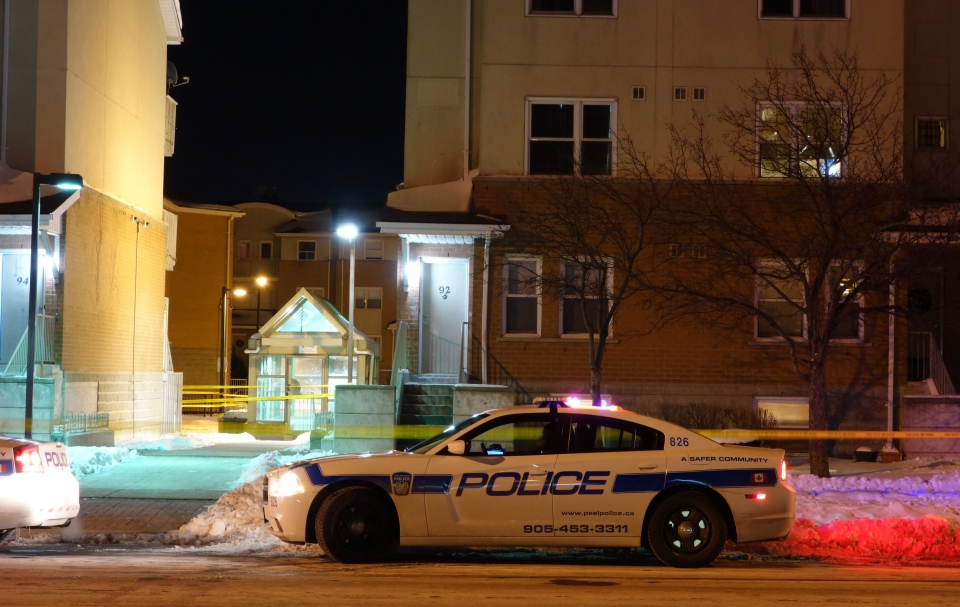 Police cruisers at the scene of a murder on Colonial Drive in Mississauga on Tuesday, Jan. 1, 2013. (Tom Podolec/CTV)