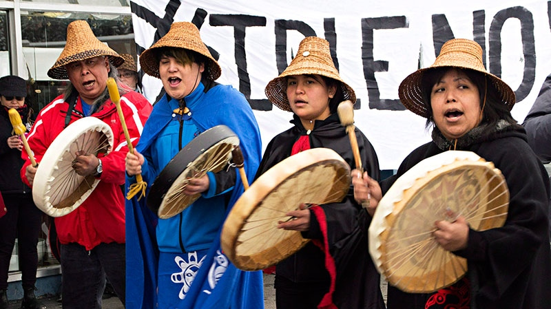 Members of the Spirit of Kitlope dancers and drummers from the Haisla First Nation take part in a rally in support of the Idle No More movement, in Kitimat, B.C. on Sunday, Dec. 30, 2012. (Robin Rowland / THE CANADIAN PRESS)
