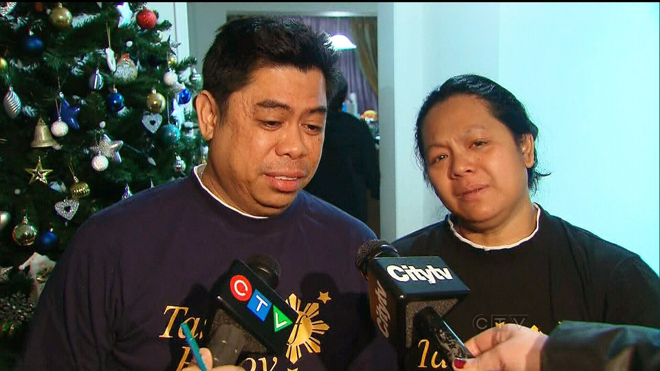 The parents of Jacob Favila, 7, who was killed in a hit-and-run on Highway 401, speak to reporters, Wednesday, Jan. 2, 2012.