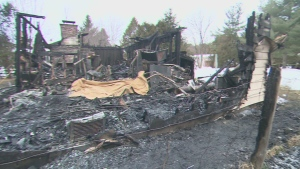An early morning fire ripped through a residential home in Innisfil, Ont., on Saturday, Jan. 5, 2013.
