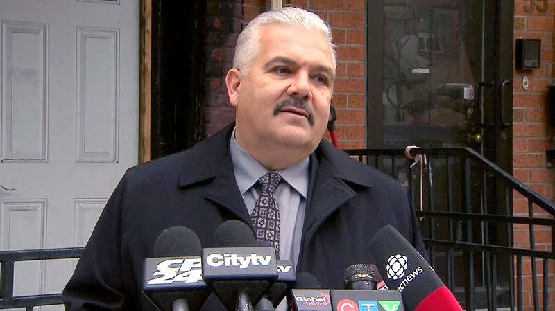 Firefighters' Association president Ed Kennedy speaks at a press conference in Toronto, Wednesday, Jan. 9, 2012.