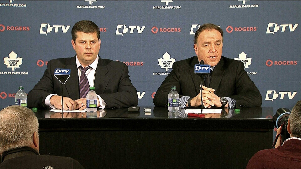 Dave Nonis (left) and Tom Anselmi attend a news conference on Wednesday, Jan. 9, 2012 to announce the Toronto Maple Leaf's decision to fire GM Brian Burke and replace him with Nonis.