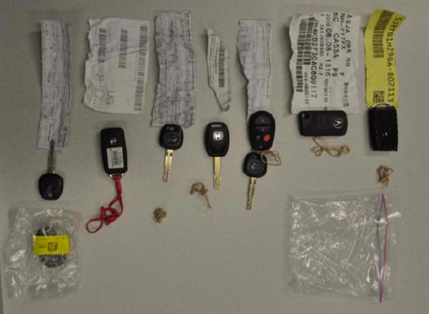 Keys from allegedly stolen vehicles