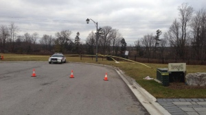 York Regional Police investigate the discovery of a human skull near Bathurst Street and Highway 407 on Monday, Jan. 14, 2013. (Katie Simpson/CP24)