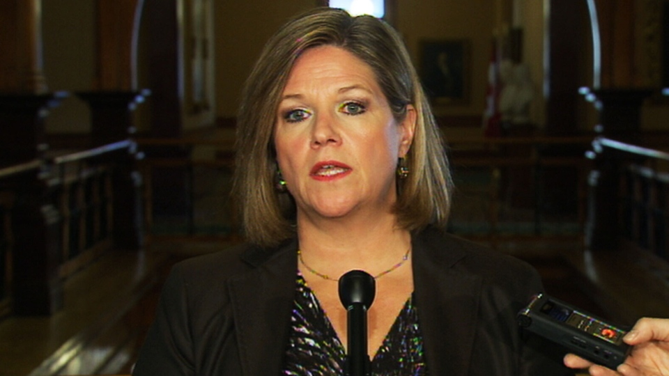 NDP Leader Andrea Horwath said she is not completely closing the door on a potential coalition with the province's Liberal party while speaking to reporters on Tuesday, Jan. 15, 2013.