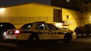 A Peel police cruiser is seen outside the Howard Johnson hotel in Brampton on Wednesday, Jan. 16, 2013. (CTV/Tom Podolec)