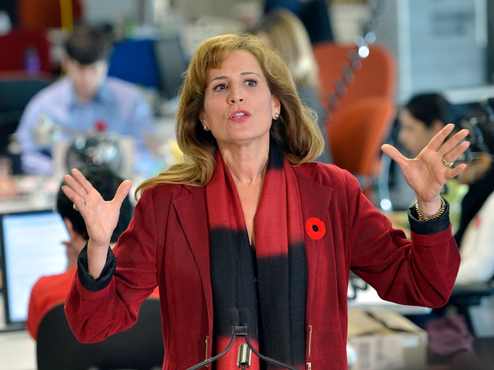 Former Ont. cabinet minister Sandra Pupatello gestures during a news conference in Toronto on Thursday, Nov. 8, 2012. (Nathan Denette / THE CANADIAN PRESS)