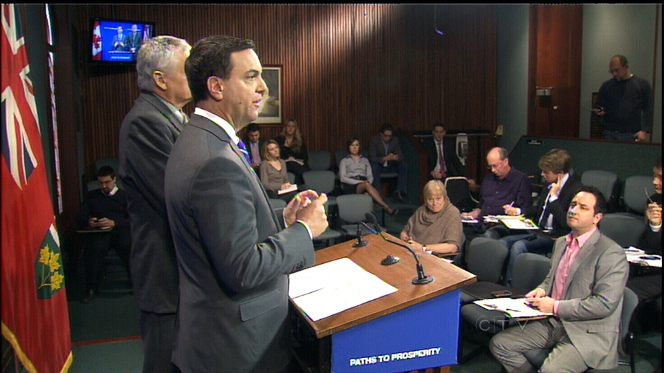 Ontario PC Leader Tim Hudak announces a series of welfare proposals at Queen's Park in Toronto, Thursday, Jan. 17, 2013.