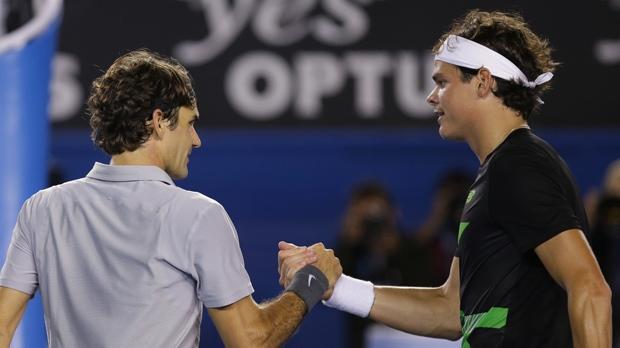 Roger Federer Milos Raonic Australian Open tennis