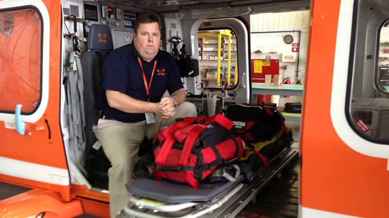 Ornge operations manager Anthony Sharp sits in an Ornge air ambulance in Toronto, Jan. 23, 2013. (CTV Toronto / Danny Pinto)
