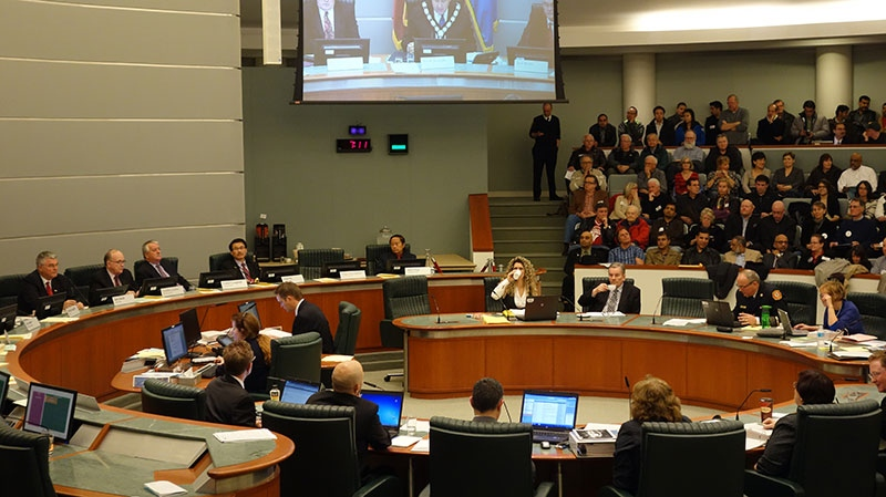 Markham City Councillors and residents pack city hall to vote on the construction of a new arena in the city, Tuesday, Jan. 29, 2013.