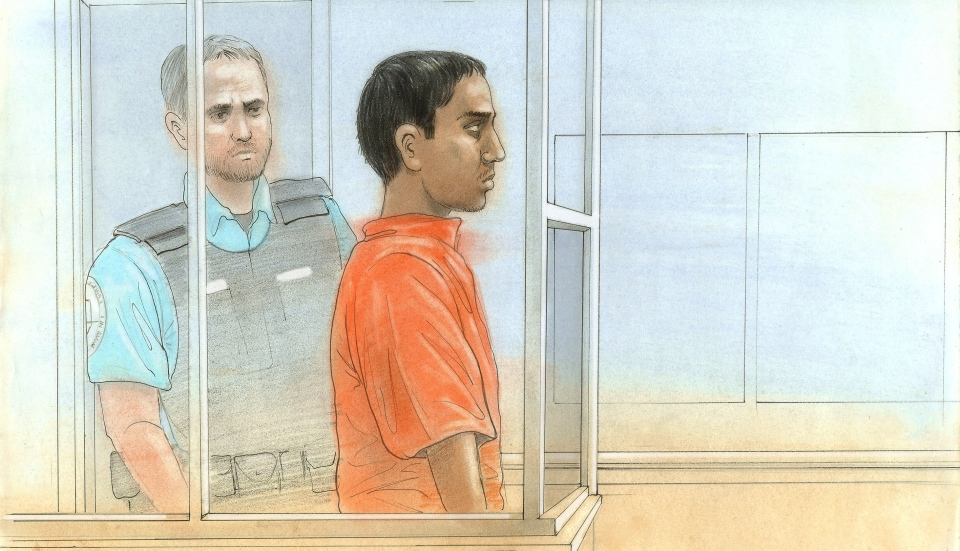 Mohamed Adam Bharwani is shown in this court sketch from Feb. 3, 2013. Bharwani, 18, has been charged with first-degree murder after a woman was found dead at a North York residence on Saturday afternoon. (John Mantha/CTV Toronto)