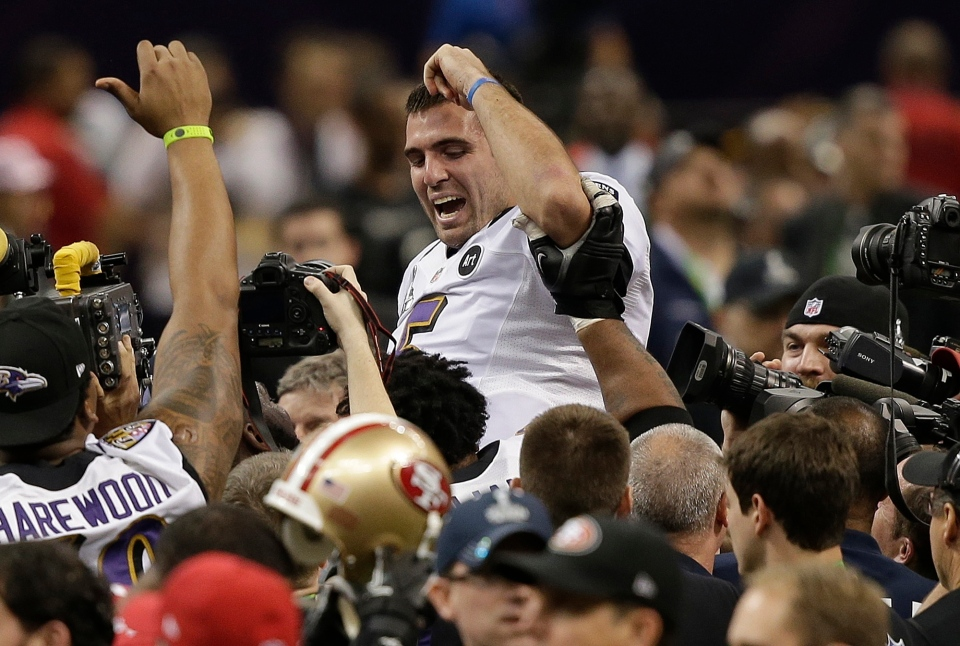 Baltimore Ravens quarterback Joe Flacco (5) is lifted into the air by teammates after defeating the San Francisco 49ers 34-31 in the NFL Super Bowl XLVII football game, Sunday, Feb. 3, 2013, in New Orleans. (AP / Bill Haber)