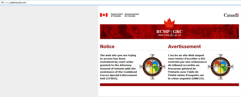 This screen shot from the Platinum SB website taken on Monday, Feb. 4, 2013 shows a RCMP notice.