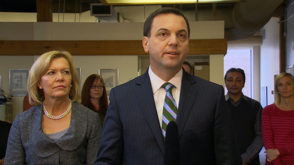 Ontario Progressive Conservative Leader Tim Hudak is seen with his deputy, Christine Elliott, in Toronto on Tuesday, Feb. 5, 2013.