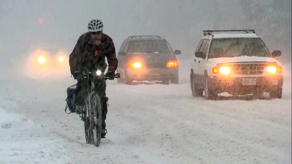 A brave cyclist takes to the road as snow falls in Toronto, Friday, Feb. 8, 2013.