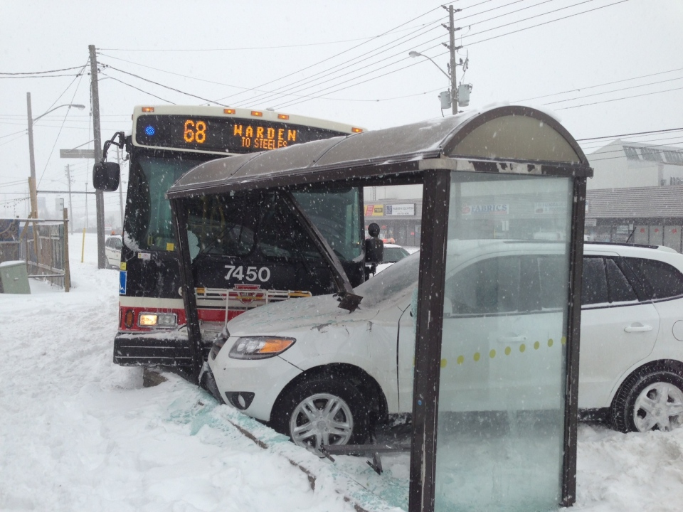 No serious injuries were reported after a TTC bus crashed into a transit shelter at Warden and Eglinton Friday morning. (Keith Hanley/CTV Toronto)