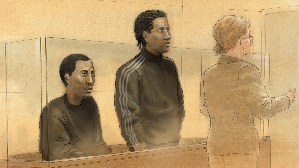 Amal Everton Greensword, 23, and Adrian Jordan Williams, 19, are seen in court to face first-degree murder charges on Thursday, Feb. 21, 2013. (John Mantha / CTV News)