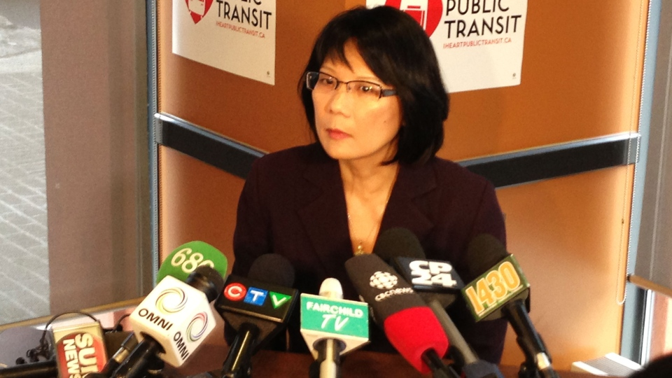 Olivia Chow announces details of new transit on Friday, Feb. 22, 2013.  (Steve Rafuse / CTV News)