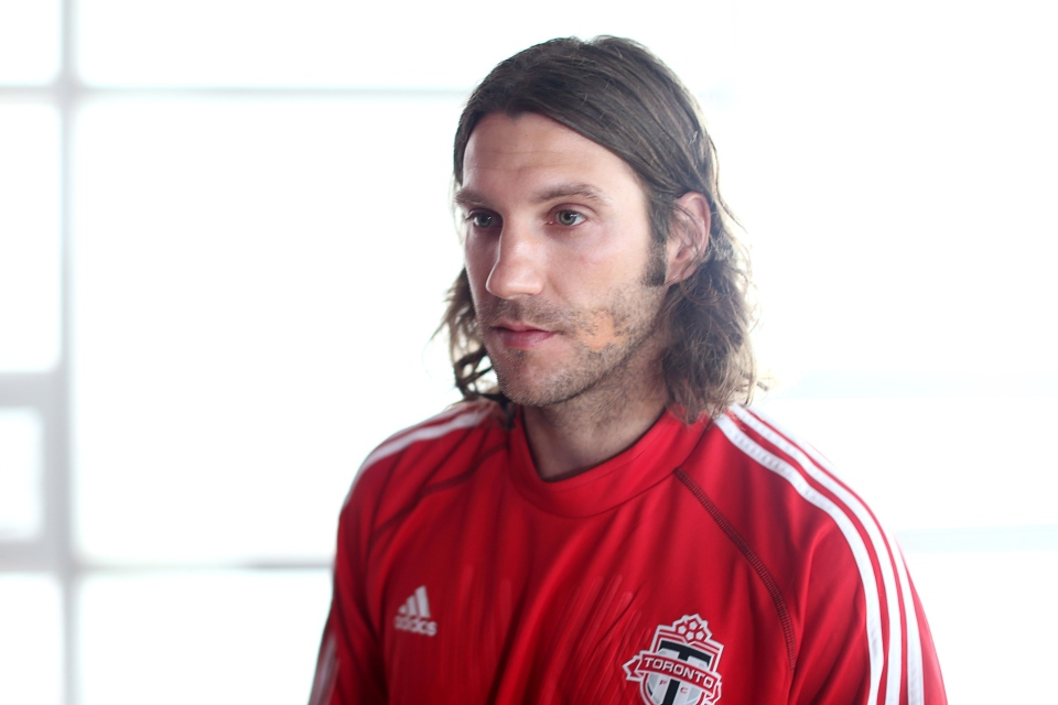 Toronto FC's team captain Torsten Frings prepares to talk with the media in Toronto on Tuesday, Jan. 22, 2013. (The Canadian Press/Chris Young)