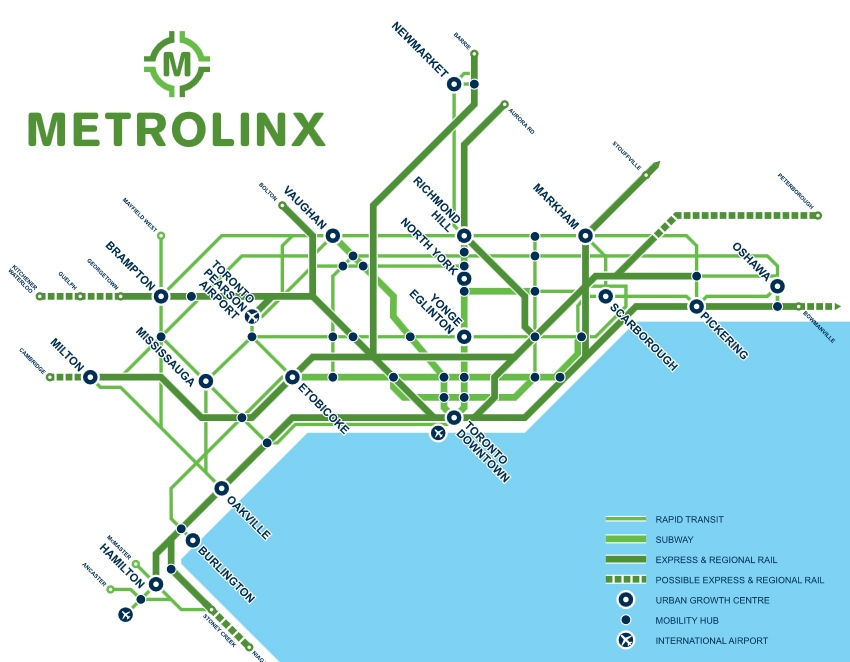 A map of a Metrolinx plan for the Regional Rapid Transit and Highway Network, a part of the the massive transit expansion in the works in the GTA. (Metrolinx)